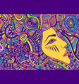 psychedelic colorful fantasy face girl with crazy vector image vector image