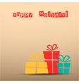 Retro card with presents teal yellow red vector image vector image