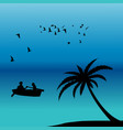 romantic landscape with couple in a boat on ocean vector image
