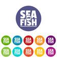 sea fish shop icons set color vector image vector image