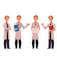 set of male man doctors in white medical coats vector image vector image