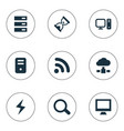 set simple notebook icons vector image