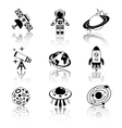 Space icons black and white set vector image vector image