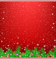 spruce branch red snow background vector image vector image