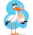 stork carrying a cute baby girl in a bag vector image