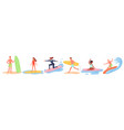 summer surfing beach sport activity set young vector image