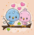 two cute birds is sitting on a branch vector image