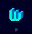w logo emblem monogram volume blue letter vector image vector image