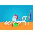 wooden beach chaise longue vector image vector image