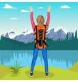young female hiker enjoying mountain lake vector image vector image
