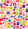 background with Collection colorful shopping icons vector image