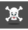 Happy skull emotion Crossbones lucky skeleton head vector image