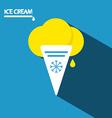 Ice Cream Icon Flat Design Long Shadow on Blue vector image