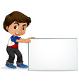 Philippines boy holding blank sign vector image