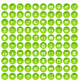 100 multimedia icons set green circle vector image vector image