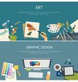 art education and graphic design web banner vector image vector image