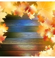 Autumn Leaves over wooden background EPS10 vector image vector image