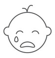 baby boy cry line icon emotion and child vector image