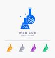beaker lab test tube scientific 5 color glyph web vector image