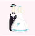 bottles of wine champagne in suits of newlyweds vector image vector image