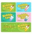 Bubble tea logo business cards and signboard vector image