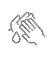 cleaning hands with disinfectant drop line icon vector image