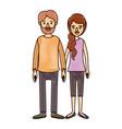 color crayon stripe cartoon full body couple woman vector image
