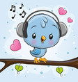 cute bird with headphones on a branch vector image
