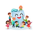 cute little boys and girls having fun and cleaning vector image