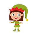 cute little christmas girl elf smiling and vector image