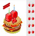 Discounts birthday when buying hamburger Candles vector image vector image
