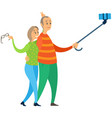 elderly people making selfie together old vector image vector image