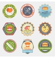 Fast food flat badges vector image vector image