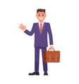 flat design character businessman with briefcase vector image vector image