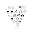 graphic heart with faces avatars of people vector image vector image