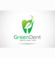 green dental logo template design emblem design vector image