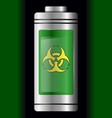 green metal with glass battery biohazard symbol vector image vector image
