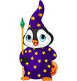halloween penguin wizard vector image