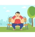 happy fat man eating a big donut in park vector image