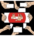 Holding hands set vector image vector image