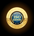 iso 22000 standard medal - food safety management vector image vector image
