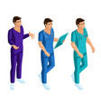 isometrics of medical workers 3d paramedic vector image