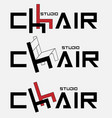 logo typographic studio chair with a letter in the vector image vector image