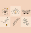 magic hand drawn doodle sketch line style set vector image