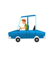 man driving blue car side view vector image