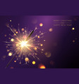 merry christmas background with realistic sparkler vector image vector image