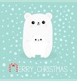 merry christmas candy cane polar white small vector image vector image