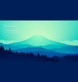 mountain peak misty pine forest gradient vector image vector image