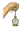 old fashioned clock engraving vector image