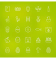 Orthodox Easter Line Icons Set over Blurred vector image vector image
